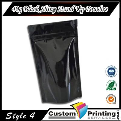 40g Black Shiny Stand Up Pouches Printing