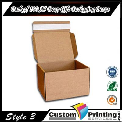 Pack of 100 A5 Deep Gift Packaging Boxes Printing