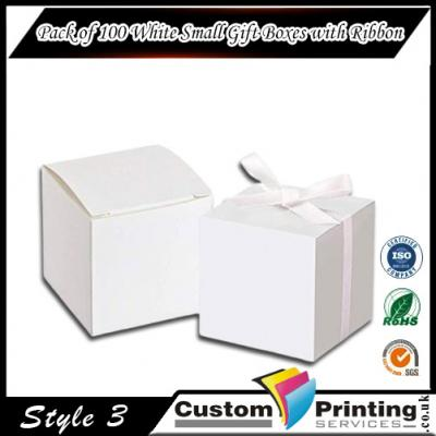 Pack of 100 White Small Gift Boxes with Ribbon Printing